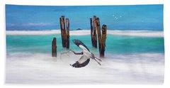 Low Flying Heron Beach Towel