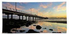 Low Tide Reflections At The Pier  Beach Towel