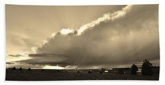Low-topped Supercell Black And White  Beach Towel