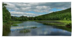 Lower Baker Pond In New Hampshire Beach Sheet by Nancy Griswold