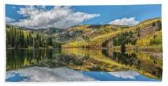 Beach Towel featuring the photograph Lower Cataract Lake Aspen by Stephen Johnson