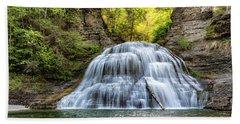 Lower Falls At Treman State Park Beach Towel