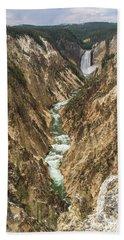 Lower Falls Of The Yellowstone - Portrait Beach Towel