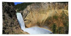 Lower Falls With A Rainbow Beach Towel