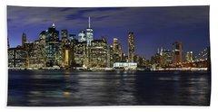 Lower Manhattan From Brooklyn Heights At Dusk - New York City Beach Towel