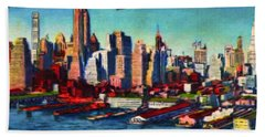 Lower Manhattan Skyline New York City Beach Sheet
