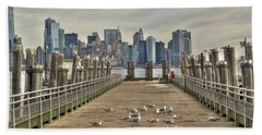 Beach Towel featuring the photograph Lower Manhattan by Timothy Lowry