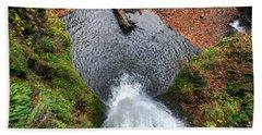Lower Multnomah Falls From Benson Bridge - Columbia Gorge Beach Towel by Gary Whitton