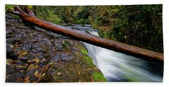 Lower Punch Bowl Falls Beach Sheet by Jonathan Davison