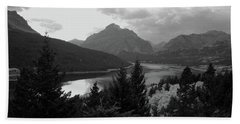 Lower Two Medicine Lake In Black And White Beach Towel