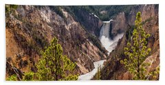 Lower Yellowstone Canyon Falls 5 - Yellowstone National Park Wyoming Beach Towel by Brian Harig