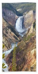 Lower Yellowstone Falls From Artist Point Beach Towel