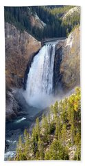 Lower Yellowstone Falls From Inspiration Point Beach Towel