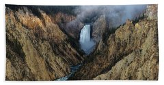 Lower Yellowstone Falls Sunrise Beach Towel