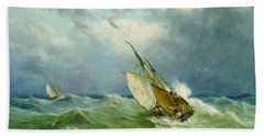 Lowestoft Trawler In Rough Weather Beach Towel by John Moore