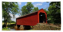 Loys Station Covered Bridge Frederick County Maryland Beach Towel