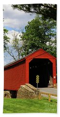 Loys Station Covered Bridge Near Thurmont Maryland Beach Towel