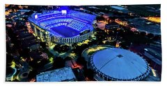 Lsu Tiger Stadium Supports Law Enforcement Beach Towel by Andy Crawford