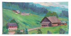 Beach Sheet featuring the painting Lucerne Countryside by Diane McClary