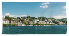 Beach Towel featuring the photograph Lucerne Panorama by Wolfgang Vogt