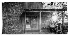 Luckenbach, Texas, Post Office In Black And White Beach Towel by Andy Crawford