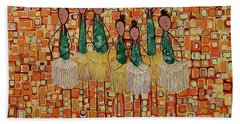 Beach Towel featuring the painting Lucky Seven by Donna Howard