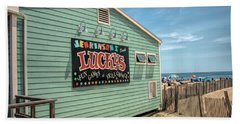 Beach Towel featuring the photograph Luckys At Jenkinsons South by Kristia Adams