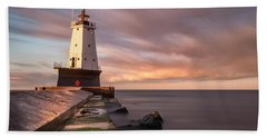 Beach Towel featuring the photograph Ludington Light Sunrise Long Exposure by Adam Romanowicz