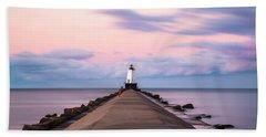 Beach Towel featuring the photograph Ludington North Breakwater Light Sunrise by Adam Romanowicz