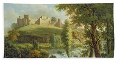 Ludlow Castle With Dinham Weir Beach Towel by Samuel Scott