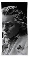 Beach Towel featuring the mixed media Ludwig Van Beethoven by Daniel Hagerman