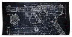 Luger P08 Pistol Blueprint Beach Towel