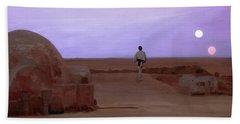 Luke Skywalker Tatooine Sunset Beach Towel