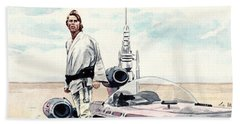 Luke Skywalker On Tatooine Star Wars A New Hope Beach Towel