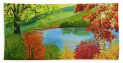 Beach Sheet featuring the painting Luminous Colors Of Fall by Lee Nixon
