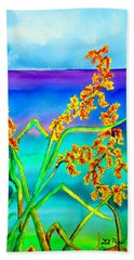 Beach Towel featuring the painting Luminous Oats by Lil Taylor