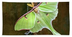 Beach Sheet featuring the digital art Luna Moth by Thanh Thuy Nguyen
