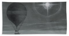 Lunar Halo And Luminescent Cross Observed During The Balloon Zenith's Long Distance Flight Beach Towel