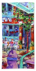 Beach Towel featuring the painting Lunch Alfresco by Les Leffingwell