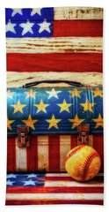 Lunch Pail And Baseball Beach Towel