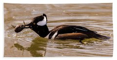 Beach Towel featuring the photograph Lunchtime For The Hooded Merganser by Randy Scherkenbach
