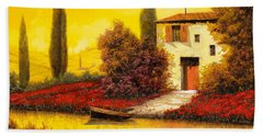 Beach Towel featuring the painting Lungo Il Fiume Tra I Papaveri by Guido Borelli