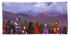 Beach Sheet featuring the painting Lupine Land #1 by Anastasiya Malakhova