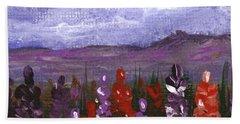 Beach Sheet featuring the painting Lupine Land #2 by Anastasiya Malakhova
