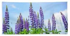 Lupines And Blue Sky Beach Towel