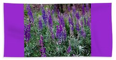 Beach Towel featuring the painting Lupines Stand Proud by Jennifer Lake
