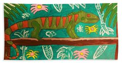 Lurking Iguana Beach Towel