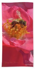 Beach Towel featuring the photograph Luscious Rose With A Bee by Nancy Lee Moran