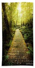 Lush Green Rainforest Walk Beach Towel
