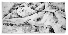 Lying Woman Figure Drawing Beach Towel